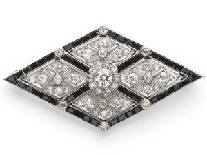 Art Deco Onyx & Diamond Brooch