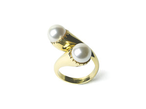 Pearl & Gold Crossover Ring