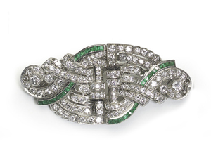 Emerald & Diamond Double Clip Brooch