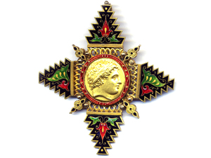 Enamelled Pendant by Giuliano, with a Philip II of Macedon Gold Coin