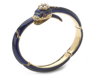 Blue Enamel Snake Bangle