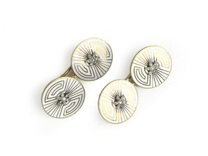 Art Deco Enamel Gold Cufflinks