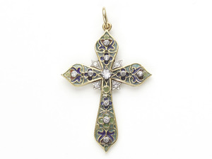 Plique Á Jour Enamel & Diamond Cross