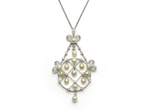 Diamond and Natural Pearl Pendant