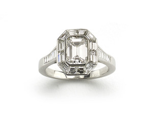 Diamond Mitre Set Ring, 1.70 Carat