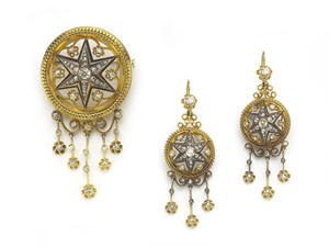 Victorian Diamond Gold Enamel Brooch & Earrings Suite