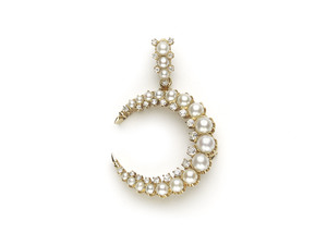 Pearl & Diamond Crescent Pendant Brooch