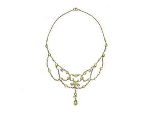 Edwardian Peridot & Pearl Swag Necklace