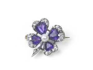 Antique Amethyst & Diamond Four Leaf Clover Brooch