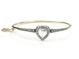 Moonstone & Diamond Heart Bangle