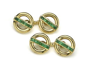 Pierre Brun French Emerald & Gold Cufflinks
