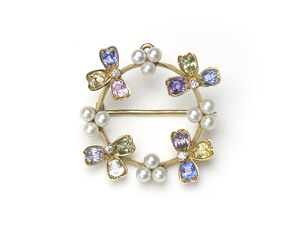 Tiffany & Co Gem Set Pearl Pendant Brooch