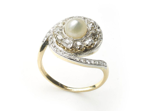 French Antique Pearl & Diamond Ring