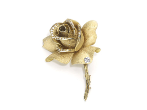 Mellerio Vintage Gold & Diamond Rose Brooch