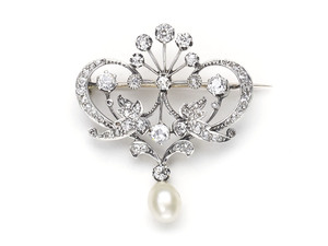 Antique Diamond & Pearl Brooch