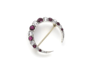 Antique Ruby & Diamond Crescent Brooch