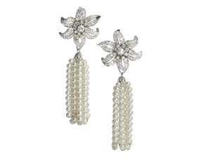 Diamond Flower & Pearl Tassel Earrings