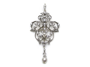 Edwardian Diamond & Pearl Brooch Pendant With Hair Comb