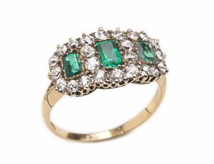 Emerald & Diamond Cluster Ring