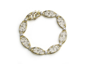 French Art Nouveau Diamond & Gold Mistletoe Bracelet