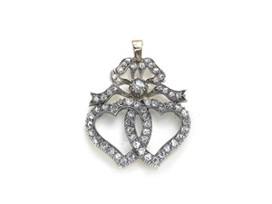 Diamond Double Heart & Bow Pendant