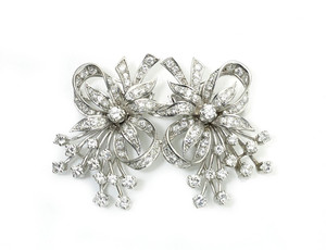 Diamond Double Clip Brooch