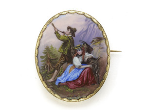 Mountain Scene Swiss Enamel Brooch