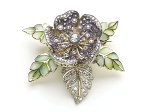 Moira Purple Sapphire & Diamond Rose Flower Brooch
