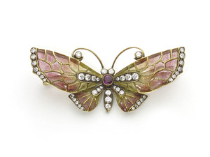 Enamel  & Diamond Butterfly Brooch