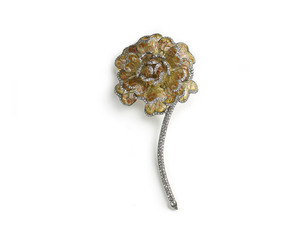 Enamel & Diamond Chrysanthemum Brooch.