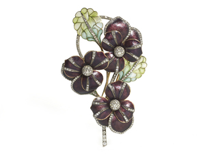 Enamel Diamond Pansy Brooch