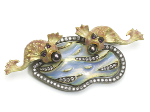 Enamel, Pearl & Diamond Fish Brooch