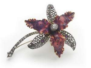 Red Enamel & Diamond Orchid Brooch