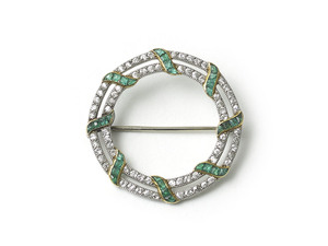 DIAMOND & EMERALD CIRCULAR BROOCH