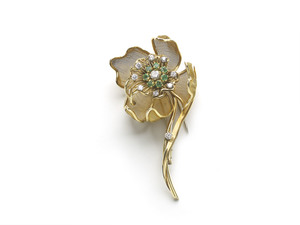 French Emerald Diamond Flower Brooch