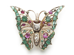 Polish Antique Gem-Set Butterfly Brooch