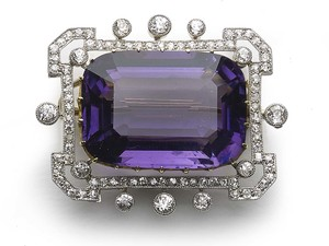 Edwardian amethyst and diamond brooch