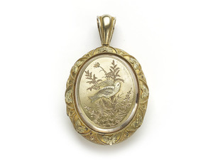 Victorian Gold Locket, with Bird & Plants