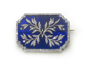 Risler & Carré Enamel & Diamond Brooch
