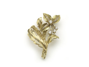 Diamond & Gold Flower Brooch