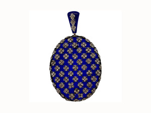 Antique French Blue Glass & Diamond Pendant