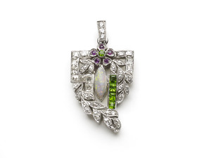 DIAMOND OPAL & GREEN GARNET PENDANT