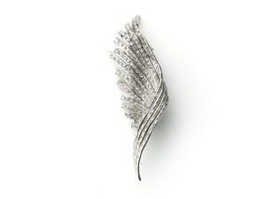 Diamond Feather Brooch