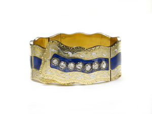 Victorian Enamel Diamond & Gold Bangle