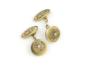 Art Nouveau Gold and Diamond Set Cufflinks