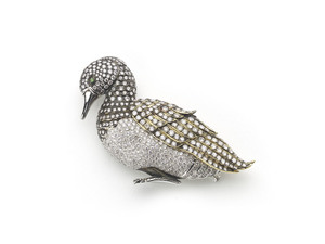 Diamond Duck Brooch