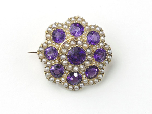 Antique Amethyst & Pearl Cluster Brooch
