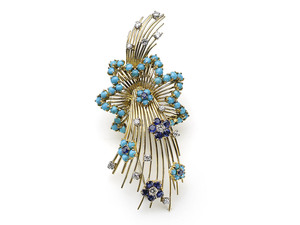 Sapphire, Diamond & Turquoise Shooting Star Brooch