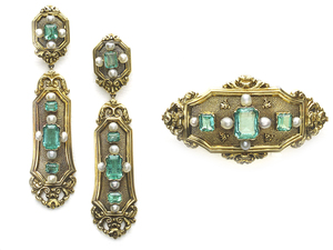 Emerald and Pearl Brooch and Earrings suite
