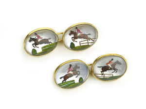Victorian horse and jockey reverse painted crystal cufflinks